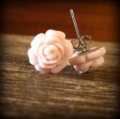Rose Studs  Rosette Sterling Silver Studs in by prettypleasempls, $10.00