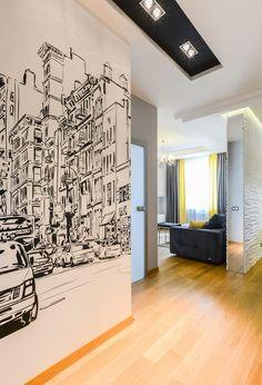 Másfél szobás lakás modern berendezése - sok fény, sárga, fehér és szürke a színpalettában, álmennyezetbe szerelt világítás