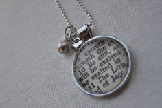 Vintage Bible Verse Pendant Necklace Psalms 46:10 by www.kraftykash.net $24.00 #jewelry #handmade