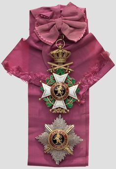 Order of Leopold (military), Grand Cordon set, with badge and breast star 120X80 mm., with original ribband. obv
