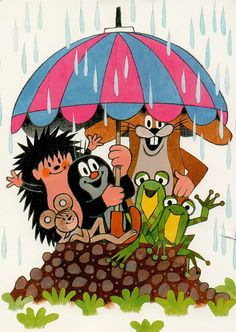 Krtek and his friends sheltering from the rain