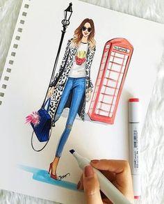 Fashion Illustration Inspired by London fashion week 2016 by Houston fashion Illustrator Rongrong DeVoe Fashion Design Sketchbook, Fashion Design Drawings, Fashion Sketches, Drawing Fashion, Fashion Art, Trendy Fashion, Love Fashion, Fashion Models, Style Fashion