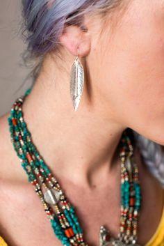 Thai Hill Tribe Silver Leaf Earrings