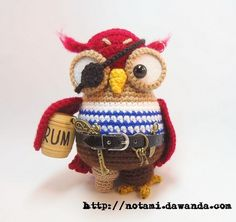 Häkelanleitung Pirateneule / diy crochet instruction: owl dressed up like a pirate by notami via DaWanda.com
