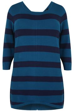 Teal & Navy Stripe Longline Jumper With Zip Back
