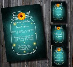 DIY Printable Wedding Invitation Suite-Country- Mason Jar-Rustic- Whimsical-DIY-Set-print your own-Teal-Daisy Accent