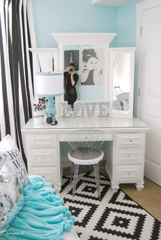 Aqua Blue And White Bedroom chic, beach-inspired girls room - love the tiffany blue and white
