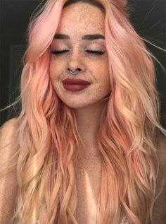 24 of the Best Blorange Hair Color Ideas to Wow this Winter Peach Hair Colors, Pastel Pink Hair, Hair Color Pink, Pretty Pastel, Pink Peach Hair, Pastel Blonde, Blorange Hair, Girl Hair, Twisted Hair
