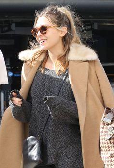ae9bd2ca86f7 Olsens Anonymous Elizabeth Olsen Airport Style LAX Round Sunglasses Fur  Collar Camel Coat Marled Sweater The Row Crossbody Bag