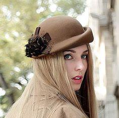 Elegant flower beret hat for women warm wool hats autumn wear