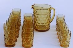 coin spot thumbprint amber glass pitcher & tumblers, vintage Hazel Atlas Americana glassware set