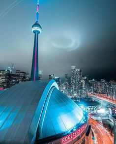 Rogers Centre was the Sky Dome- Toronto, Canada Toronto Skyline, Toronto City, Downtown Toronto, Toronto Architecture, Toronto Ontario Canada, East Coast Road Trip, Cityscape Photography, Western Canada, City Aesthetic