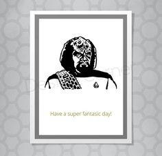 Funny Illustrated Worf Star Trek All Occasion Card