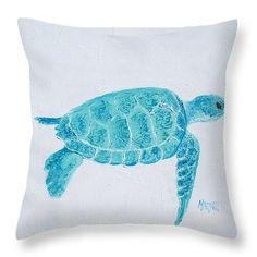 Turquoise marine turtle Throw Pillow, coastal pillows, beach decor, beach home decor, coastal cottage decor