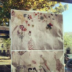 Lyndsey Mcdougall - Strangford maritime festival, embroidery in a bus shelter