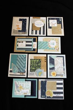 """No Worries Cards  Workshop: Tuesday, June 13, 2017, 6:00-9:00pm  There are three class options this night!   a. You can make an adorable 4""""x4""""x4"""" Scrapbook In A Box (shown separately) for $15.00 or $8.00 for club members  b. You can make 10 cards using the No Worries papers for $15.00 or $8.00 for club members  c. You can make the Scrapbook In A Box AND the 10 No Worries Cards for $25.00 or $15.00 for club members."""