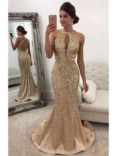 Mermaid Dresses Wedding Inspirational Sparkle Heavy Beaded Mermaid Open Back Inexpensive Long Prom Dresses Gorgeous Prom Dresses, Gold Prom Dresses, Prom Dresses For Sale, Sexy Dresses, Formal Dresses, Gold Formal Dress, Long Dresses, Elegant Gold Dress, Dresses Uk