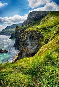 Cliffs in the Glens of Antrim, near Cushendall, Ireland.