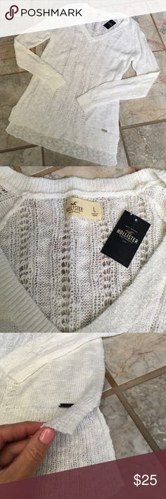 Hollister White Pullover Sweater New with tags Hollister White sweater, has side slits. Fits long, looks cute with leggings and skinny jeans. See all pics Sweaters V-Necks