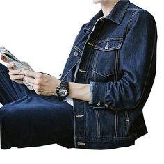 6a3bd4ed385 SHAREWIN Mens Denim Jacket Rugged Long Sleeve Blue Jean Jackets For Men  Review Jean Jackets