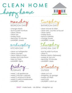 Clean Home Happy Home Cleaning Schedule - Cleaning Hacks House Cleaning Checklist, Clean House Schedule, Chore Schedule, Apartment Cleaning Schedule, Laundry Schedule, Weekly Cleaning Schedule Printable, New House Checklist, Cleaning Routines, First Apartment Checklist