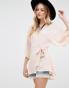 Honey Punch | Honey Punch Tie Up Front Blouse With Embroidery at ASOS
