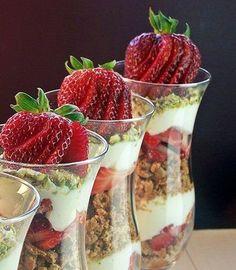 Strawberry Cannoli Parfaits with Pistachios