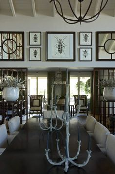 JOHN JACOB INTERIORS-Beetle Prints-and love the large white pots on either side of entry way with Cacti