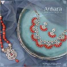 A humble attempt to bring the ethereal beauty of Corals and Diamonds to life are these Coral Necklace set and mala. A one of its kind signature Jewelry to gleam the shine from within !!! #Antara Vaibhav Jewellers presents ANTARA - a Traditional Close Setting Diamond Jewellery! #NRIfestiavl #Diamondjewellery #USA #DiamondJewellery #DiamondNecklace #Necklace #ForWomen #Diamond #OnlineShopping #Ecommerce #USA #InternationalshippingAvailble #Design #india #women #vaibhav #forwomen #design