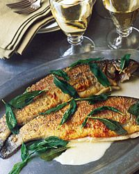 This recipe for Whole Trout with Sage and White Wine from Food & Wine magazine is delicious and easy. I happen to be one that is not afraid of butter so this recipe really spoke to me!