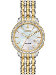 Citizen Ladies Diamond Bezel Two Tone Bracelet Watch EW2284-57D  #watches #ladieswatches #diamondwatches #goldwatches #giftsforher