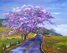 Giclee Print of Original Oil Painting Landscape Trees Tropical Maui Purple Impressionist Fine Art    Upcountry in Bloom  This print is a