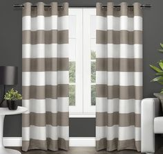 84 Inch Taupe White Rugby Stripes Curtains Pair Panel Set Brown Color Drapes Cabana Striped Pattern Window Treatments Nautical Sports Themed