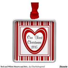 Red and White Hearts and Stripes Square Metal Christmas Ornament