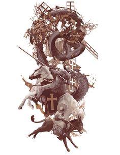 Don Quixote — AJ Frena Illustration Magazine Illustration, Art And Illustration, Fantasy World, Fantasy Art, Man Of La Mancha, Dom Quixote, Pictures To Draw, Dark Art, Cool Art