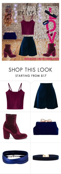 """""""Velvet"""" by tekiii ❤ liked on Polyvore featuring WithChic, Ella Singh, Steve Madden, Ted Baker, She.Rise and Vanessa Mooney"""