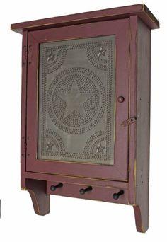 cabinet country rustic primitive wood cabinet star tin panel - Rustikale Primitive Kchen