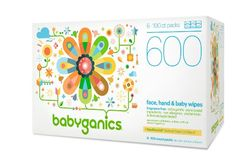 Babyganics Face, Hand & Baby Wipes, Fragrance Free, 600 Count
