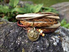 Boho Leather Wrap Bracelet Yoga Inspired 3X by EllieRooDesigns, $55.00