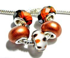 European bead set autumn mix copper brown orange white charms PBS941  Grad Graduation class of 2013