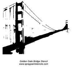 golden gate bridge tattoo | Golden Gate Bridge Stencil Outline Version