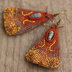 Bead Embroidered Moth Earrings by beadedmischka on Etsy