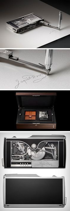 """""""The Writer"""" as it was called back then. Jaquet-Droz's Signature Machine is now available for sale, replicating its owner's signature by using historic cam technology and a complex series of 585 parts, assembled and finished by hand. The Signing Machine is custom made to the signature of its owner and even comes with an engraved plate featuring your signature."""