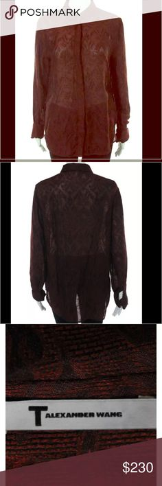 ALEXANDER WANG Burgundy Lace L/S Button Up Shirt Stunning Alexander Wang delicate Lace button up in a knockout burgundy color. This shirt is great for the office as an undershirt to your favorite suit, or as a stand alone statement piece for both casual & dressy occasions. Aside from its overall beauty & versatility, you wouldn't believe how comfortable & lightweight she is as well. Just an all around amazing addition to any woman's wardrobe! Don't forget how beautiful it would be for this…