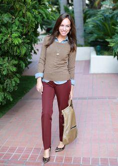 Sydne Style loft pant revolution julie petite outfit ideas denim shirt tan sweater. Love this look!