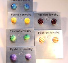 Fashion Resin Striped Ear Studs , with Brass Earstud Components and Plastic Earring Earnuts Plastic Earrings, Ear Studs, Femininity, Color Mixing, Resin, Fashion Jewelry, Beauty, Studs, Cosmetology