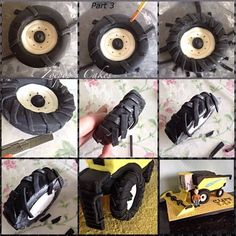 I took some step by step pics while making the wheels and tyres for my combine harvester cake so thought I'd share, any questions please ask hope it's useful to someone here's a link to the finished cake I used them on x...