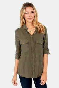Love this army green top, and the color!