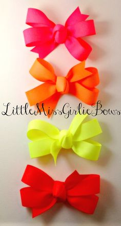 Set of 4 Neon Hair Bows Mounted on by LittleMissGirlieBows on Etsy, $5.95