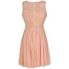 Ready For Romance Crochet Lace Dress in Peach